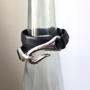 Vintage Black Leather Belt - Fits All